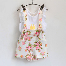 Girls Clothing Sets Crown Summer Children's Outfits Overall Suit casual T-Shirt+Bib short 2 Pcs Flying Sleeve Clothing Sets Kids