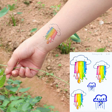 Funny Cartoon Temporary tattoo waterproof rainbow rainy cloud tattoos nontoxic children girls body art fake tattoo on hand arm(China)