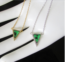 fashion 2016 fine silver jewelry,Gold vermeil 925 silver imitation GREEN triangle necklace with chain(China)
