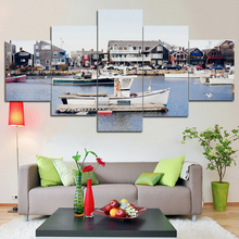 City canal cruise canvas painting print art home decor wall art pictures for living room 5 panel large poster painting Framed