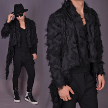 Feather Long coat fashtion long hair stylist jacket blazer coat male costume  slim singer dancer star show prom bar nightclub