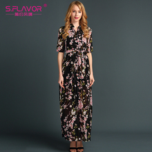 S.FLAOR Brand Women chiffon thin dress 2017 women Summer fashion long dress V-Neck Floor-Length sexy vestidos new fashion style