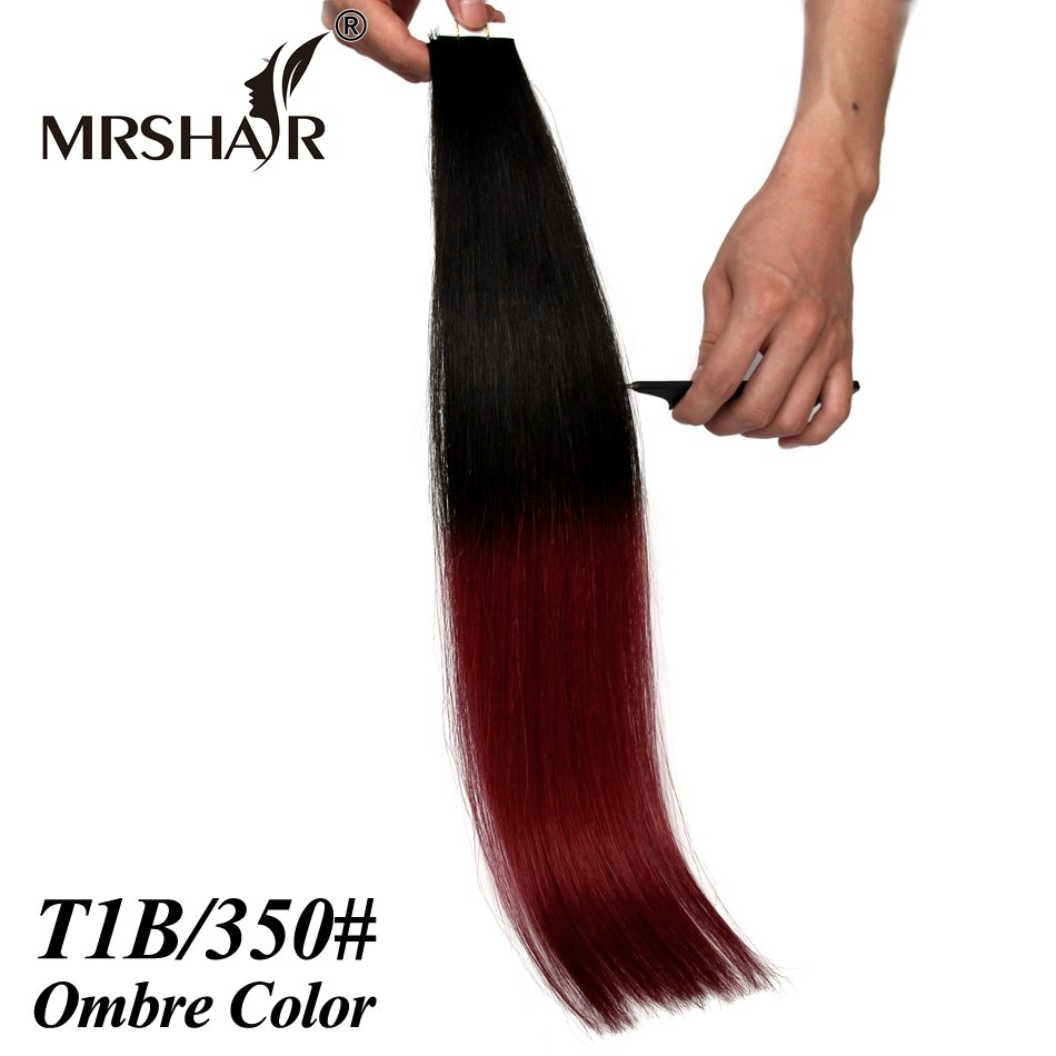 Tape Ombre Hair 1B/350# Straight Brazilian Hair Remy Seamless Hair Extensions On Skin Weft Natural Black Hair Burgundy Color<br><br>Aliexpress