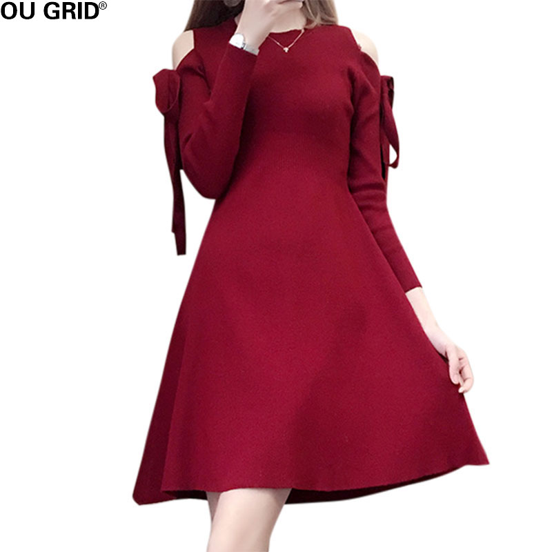 Women slim Off Shoulder Casual Knitted A-line Dress Winter Long Sleeve Bow Elegant Party  O-neck High Quality Sweater DressesÎäåæäà è àêñåññóàðû<br><br>