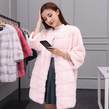 2017 new fur mink female models coat the whole mink in the long section of fur coat lady mink coat(China)