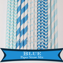 125pcs Mix Colors Blue Party Paper Straws,Light Blue Striped,Chevron,Swiss Dot,Blue Stripe,Zig Zag,Birthday Boy Baby Shower Bulk