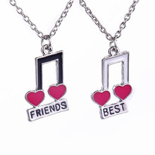 Women Fashion Jewelry Music Notes Best Friend For 2 BFF Heart Music Note Best Friends Forever Friendship Pendant Necklace Gift