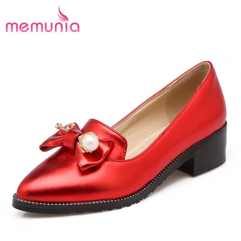 MEMUNIA big size 34-45 2017 hot sale new arrive high heel pumps summer shoes fashion med heel single shoes fresh simple bowknot<br>