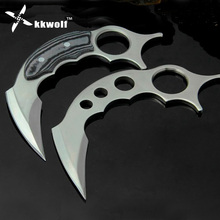 KKWOLF karambit knife tactical survival fixed knife camping Fighting self defense military knife hunting knives outdoor EDC tool(China)