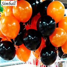 50pcs Orange Black Halloween Balloons Combo 12inch 2.2g Latex Helium Balloon Wedding Birthday Party Decoration Balloons Supplies(China)