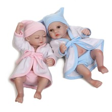 2017 New Waterproof Mini Baby Doll Pair Lifelike Living Doll Solid Silicone Children Gift 12 inches(China)