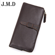 J.M.D Brand 100% Top Genuine Cowhide Leather High Quality Men Long Wallet Coin Purse Vintage Designer Male Carteira Wallets