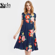 SheIn Flower Print Side Pocket Detail Swing Tee Dress Summer Dresses Casual Navy Short Sleeve Floral Line - Official Store store