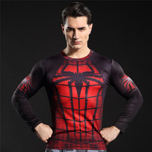 Hot Selll Men Long Sleeve Bodybuilding T-shirts Spiderman Flash Skull Work Out Fitness Compression Crossfit Slim Top Tees Shirt(China)