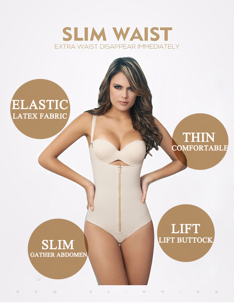 Clip and Zip Latex Waist Shapers Butt Lifter With Tummy Control Hot Shapers Vest Slimming Shapewear Bodysuit Full Body Shaper 3