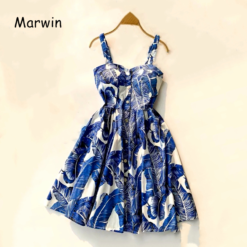 Marwin 19 New-Coming Summer Women Spaghetti Strap Print Floral Sleeveless Empire Beach Dresses High Street Style 12