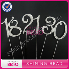 free shipping,7cm sliver double number 13/16/18/21/25/30/40/50/60/70/80/90 rhinestone cake topper,birthday number cake topper