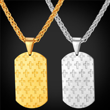 316L Stainless Steel/Gold Color Cross Pendant Necklace For Men Dog Tags New Trendy Jewelry Cross Necklace GP1904(China)