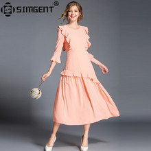 Buy Simgent 2018 Spring Butterfly Sleeve One Neck Midi Casual Ladies Chiffon Ruffle Dress Women Clothing Vetement ete Femme SG83143 for $26.75 in AliExpress store