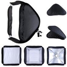 "60x60cm 24"" Portable Photo Studio Hotshoe Soft Box Kit Softbox for Flash Tripod With L-Sharp Adapter Free Shipping"