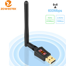 Zoweetek Mini USB WiFi Adapter 5G 433Mbps 2.4G 150Mbps 802.11AC Wireless Antenna Dual Band LAN Ethernet Receiver for PC Phones(China)