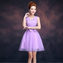 party women cocktail ladies dresses new fashion 2017 v neck knee length lavender dress for the girls real ball gown D1911