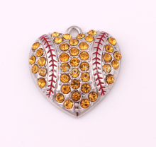 Hot sale New products 30pcs a lot zinc with sparkling Yellow crystals Baseball or softball Heart sports Pendant
