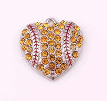 Hot sale New products 30pcs a lot zinc with sparkling Yellow crystals Baseball or softball Heart sports Pendant(China)