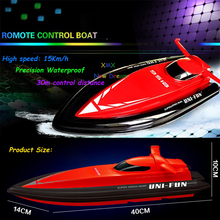 2017 Real Boats Huanqi 40cm Big Size 2.4g Rc Boat For Children Electric Motorboat 4ch Model Ship Remote Control Speedboat Toys(China)