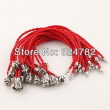 "Free shipping 20PCS/LOT 8 Inch dark red BRAID LEATHER ""LOVE"" CLASP CHARM BRACELET / Leather LOVE Clasp for European beads(China)"