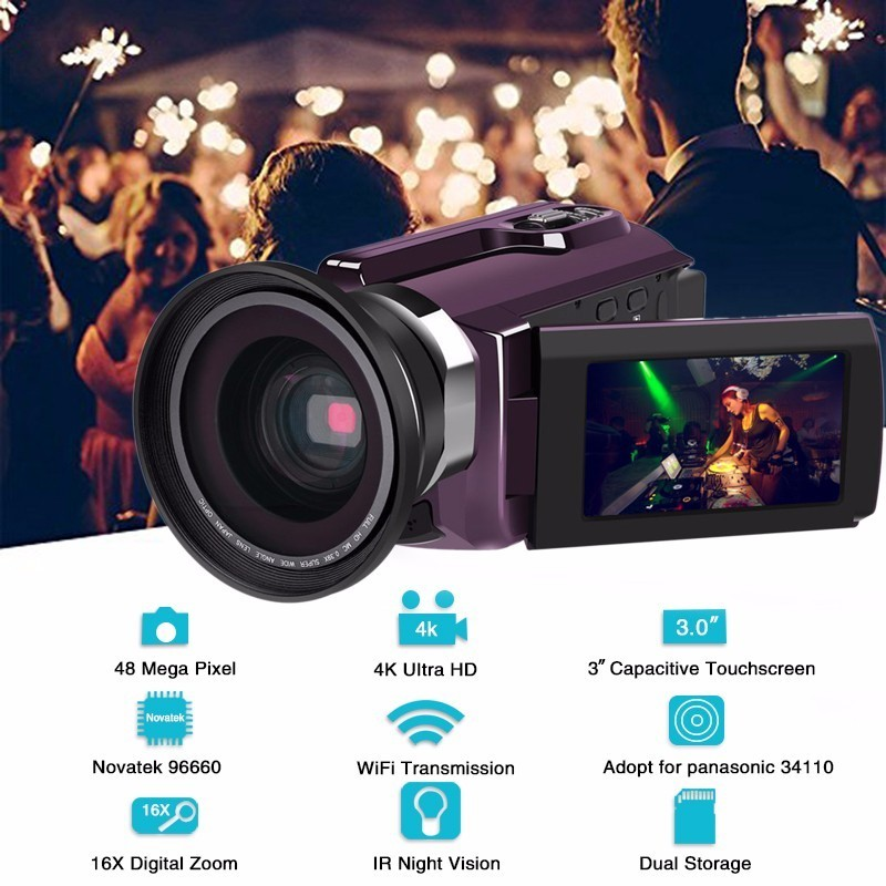 4K Camcorder Video Camera Ultra HD 60 FPS Digital Video Recorder Wifi night Vision LCD Touchscreen External with Wide Angle Lens 4