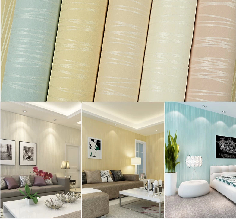 Blue/Pink/Grey/Beige/Cream stripe wallpaper patterns modern striped wall paper non-woven wallcovering papel de parede listrado<br><br>Aliexpress