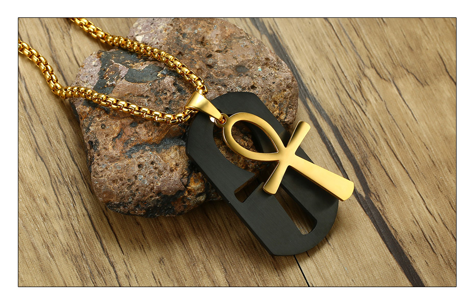 Meaeguet Egyptian Ankh Necklace Jewelry Gold-color Stainless Steel Pendant For Men Key To Life Egypt Cross With 24 Box Chain (3)