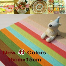 FREE SHIPPING 43Colors/Lot,15CM*15CM, Polyester Felt Fabric Packs,1MM Thick wool felt Non-Woven Fabric(China)