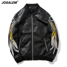 JOSALEM Men Wing Embroidery PU Leather Jackets 2017 New Autumn Winter Fashion Zippers Pockets Man Motorcycle Outwear Biker Coat(China)