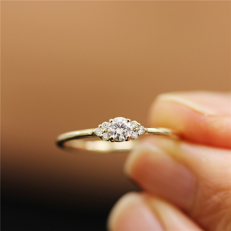 Crystal Wedding Ring Gold Color CZ Zircon Engagement Rings for Women Jewelry Dropship bague femme C25