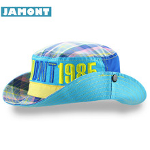 [JAMONT] Outdoor Kids Cap Boy Girl Panama Cowboy Hats Cotton Letter Casquette Children's Sun Hat Spring Summer Bucket Hat 1985(China)