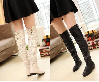 Spring Summer New 2014 Plus Size 34-43 WomenS Hollow Out Long Boots Flat Heel Over The Knee Boots For Women Free Shipping B2468<br><br>Aliexpress
