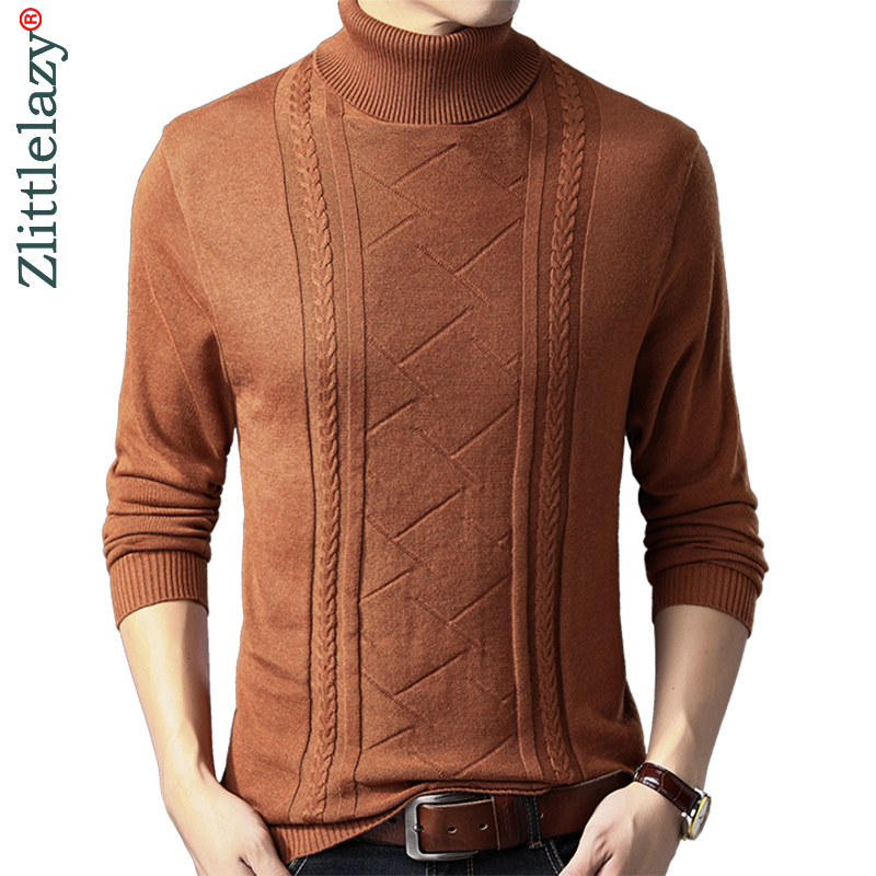 2019 brand turtleneck autumn winter warm pullover knitted male sweater men solid dress thick high neck mens sweaters jersey 1247