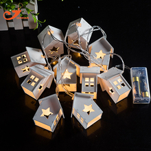 Wooden Home Decoration Star Lights10LED Wood House Indoor Lighting Starry Light Christmas Light Battery Operated Fairy lights(China)