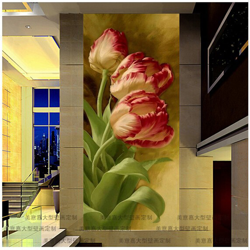 Custom 3 d modern mural Porch corridor background wall paper sitting room bedroom corridor wall painting tulips papel de parede<br>
