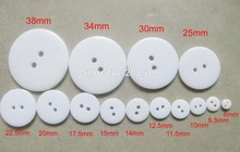 NBNNSS ALL sizes White color Garment buttons 6mm/10mm/15mm/18mm/25mm/34mm 2 holes craft scrapbooking button Resin(China)