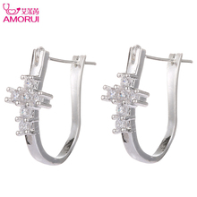 AMORUI Fashion Trendy Silver Christian Earings Crystal Juses Cross Hoop Earrings Jewelry for Women CZ-Stone Charm Earring Bijoux(China)