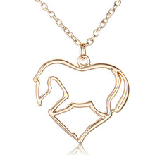 20pcs gold cut heart horse animal children necklace best gifts for Kids