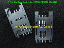 Free Shipping!   10pcs   6 PIN GSM 3G SIM Card Sockets for SIM908 SIM900 SIM5320