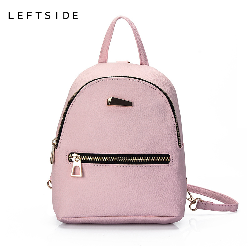 LEFTSIDE 2017 Women Leather Backpack children backpack mini backpack women cute back pack backpacks for teenage girls small bag(China (Mainland))