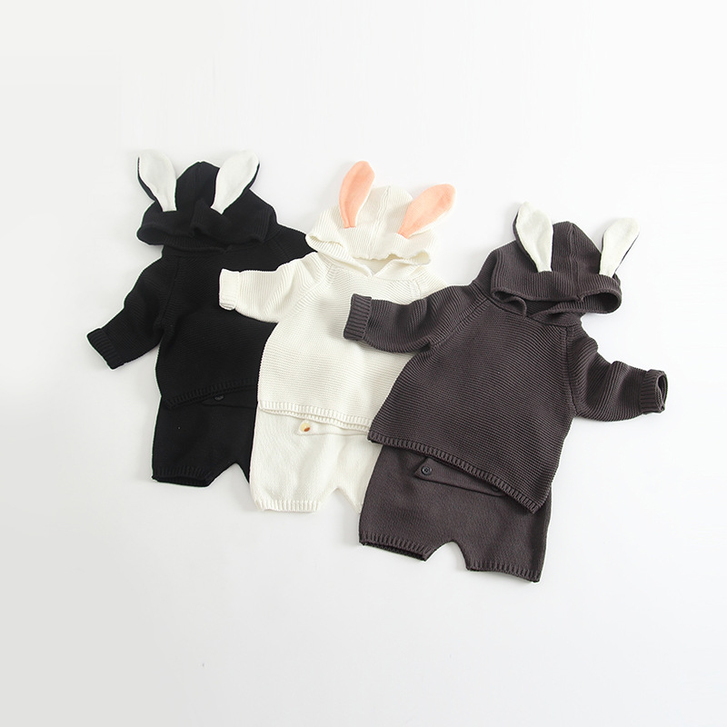 Autumn 2017 Kids Solid Color Clothing Set 2pcs  Knitting Set Rabbit Ear Modeling Sweater Tops+Big Pocket Pants Boys Clothes<br>