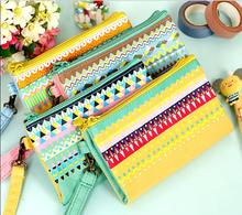 1pcs/lot THE times colorful striped double coin purses coin bag women wallets key case retail(China)