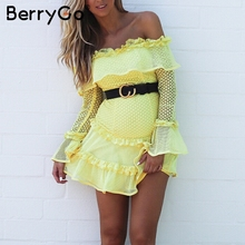 Buy BerryGo shoulder ruffle lace dress women Hollow sexy mini dress party 2018 Summer style backless white dress vestidos for $27.99 in AliExpress store