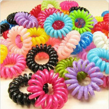 Wholesale 10 Pcs Styling Black Telephone Phone Cord Elastic Bands Ponytail Holders Hair Ring Scrunchy For Girl Rubber Band Tie
